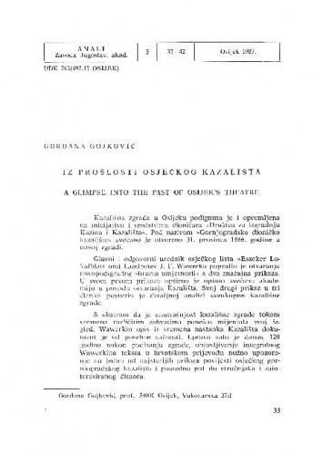 Iz prošlosti osječkog kazališta / Gordana Gojković