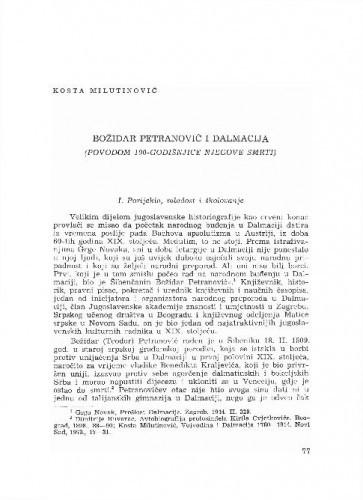 Božidar Petranović i Dalmacija : (povodom 100-godišnjice njegove smrti) / Kosta Milutinović