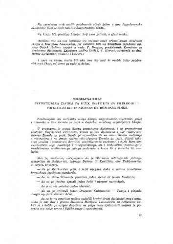 Pozdravna riječ predstojnika Zavoda za jezik Instituta za filologiju i folkloristiku iz Zagreba dr Božidara Finke