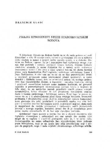 Prilog etniogenezi nekih starohrvatskih rodova / Branimir Gušić
