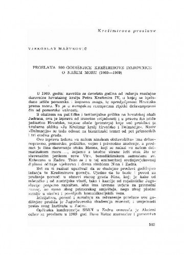 Proslava 900-godišnjice Krešimirove darovnice o našem moru : (1069-1969) / Vjekoslav Maštrović