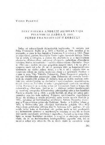 Šest pisama Andrije Alibrantija pisanih iz Zadra g. 1849. Petru Franasoviću u Korčuli / [priopćio] Vinko Foretić