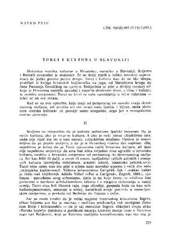 Turci i kultura u Slavoniji / Matko Peić