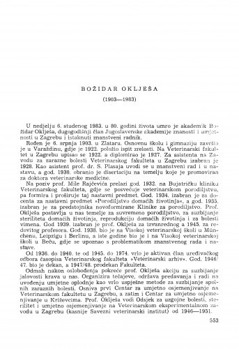 Božidar Oklješa (1903-1983) : [komemoracija i nekrolozi] / E. Topolnik