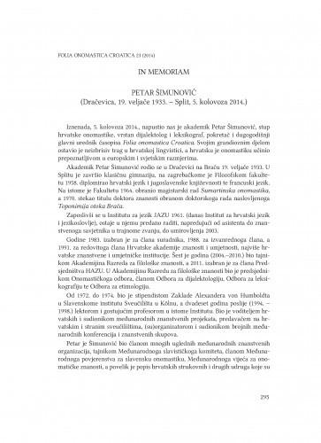 In memoriam : Petar Šimunović : (Dračevica, 19. veljače 1933. - Split, 5. kolovoza 2014.) / Anđela Frančić