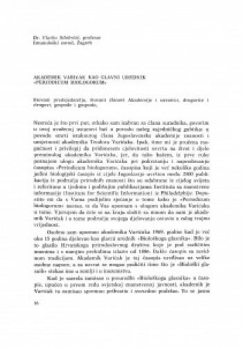 Akademik Varićak kao glavni urednik