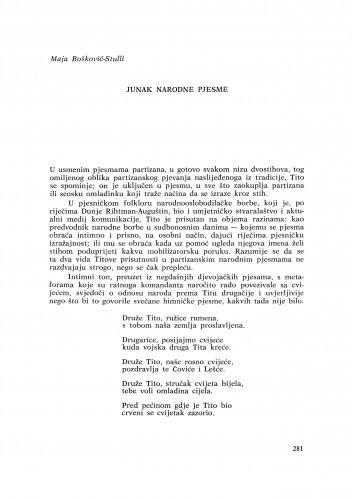 Junak narodne pjesme / M. Bošković-Stulli