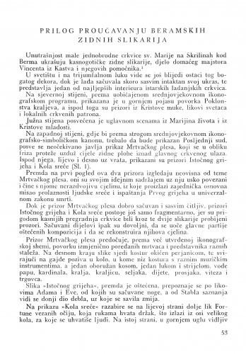 Prilog proučavanju beramskih zidnih slikarija / Fedora Paškvan