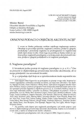 Osnovni podaci o osječkoj akcentuaciji / Mislav Benić