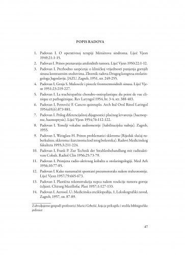 Bibliografija akademika Ive Padovana