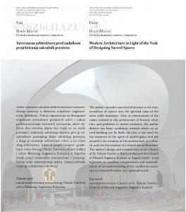 Suvremena arhitektura pred zadatkom projektiranja sakralnih prostora = Modern architecture in light of the task of designing sacred spaces / Boris Magaš