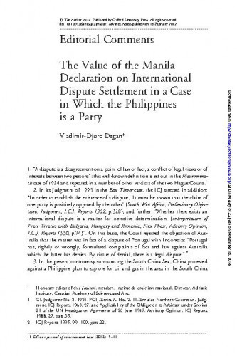 The Value of the Manila Declaration on International Dispute Settlement in a Case in which the Philippines is a Party : Editorial Comment / Vladimir-Djuro Degan