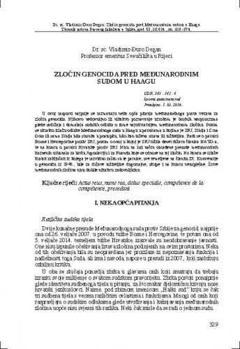 Zločin genocida pred međunarodnim sudom u Haagu