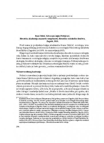 Ivan Cifrić, Selo u sjećanju: Petrijevci, Hrvatska akademija znanosti i umjetnosti, Hrvatsko sociološko društvo, Zagreb, 2019. : [prikaz] / Tanja Perić-Polonijo