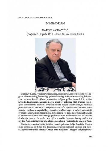 Radoslav Katičić (Zagreb, 3. srpnja 1930. – Beč, 10. kolovoza 2019.) : in memoriam / Mislav Ježić