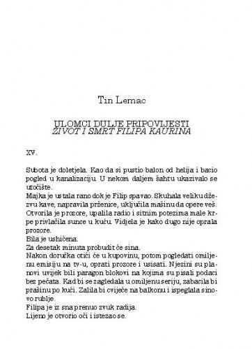 Ulomci dulje pripovijesti Život i smrt Filipa Kaurina / Tin Lemac