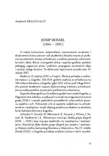Josip Seissel (1904.-1987.) : [komemorativni esej] / Drago Galić