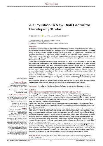 Air Pollution: a New Risk Factor for Developing Stroke / Vida Demarin, Sandra Morović, Filip Đerke
