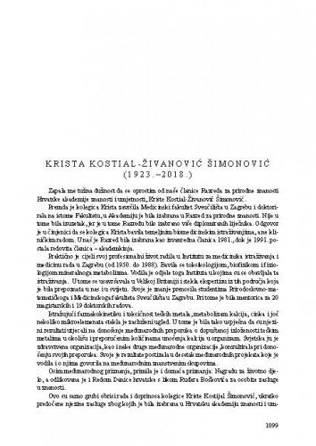 Krista Kostial-Živanović Šimonović (1923.-2018.) : [nekrolog] / Vlatko Silobrčić