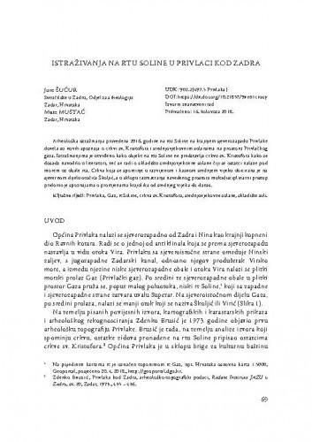Istraživanja na rtu Soline u Privlaci kod Zadra / Jure Šućur, Mate Mustać