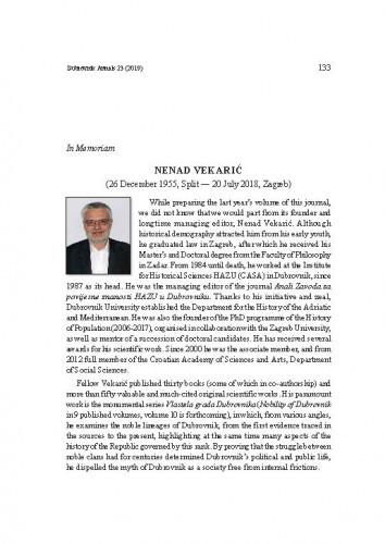Nenad Vekarić : (26 December 1955, Split - 20 July 2018, Zagreb) ; in memoriamNella Lonza