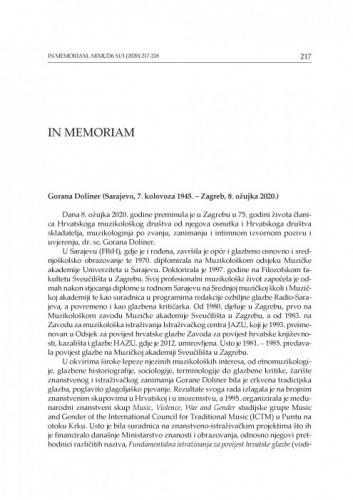 Gorana Doliner (Sarajevo, 7. kolovoza 1945. – Zagreb, 8. ožujka 2020. : in memoriam / Sanja Majer-Bobetko