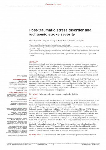 Post-traumatic stress disorder and ischaemic stroke severity / Stela Rutović, Dragutin Kadojić, Silvio Bašić, Branko Malojčić