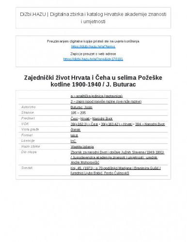 Zajednički život Hrvata i Čeha u selima Požeške kotline 1900-1940 / J. Buturac