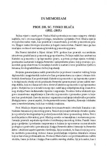 In memoriam : prof. dr. sc. Vinko Hlača (1932.-2015.)