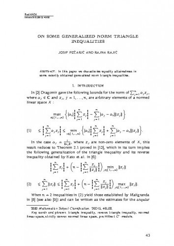 On some generalized norm triangle inequalities