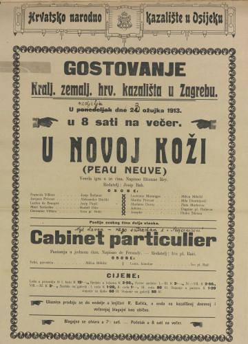 U novoj koži ; Cabinet particulier Vesela igra u tri čina ; Fantazija u jednom činu  =  Peau neuve
