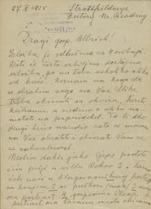 Pismo Naste Rojc Antunu Ullrichu, Stratfield Saye, 27.2.1925.