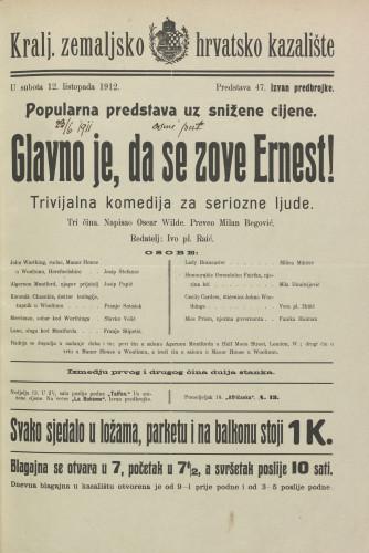Glavno je, da se zove Ernest! : Tri čina  =  Trivijalna komedija za seriozne ljude.