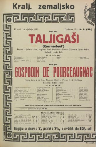 Taljigaši ; Gospodin de Pourceaugnac Drama u jednom činu ; Vesela igra u tri čina  =  Karrnerleut'