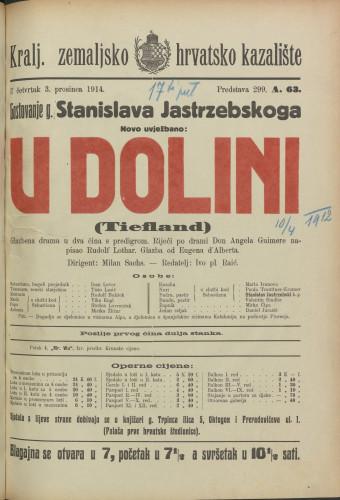 U dolini  =  Tiefland : Glazbena drama u dva čina s predigrom