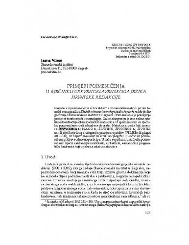 Primjeri poimeničenja u Rječniku crkvenoslavenskoga jezika hrvatske redakcije / Jasna Vince