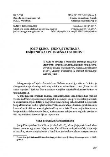 Josip Klima - jedna svestrana umjetnička i pedagoška osobnost / Janko Ranogajec