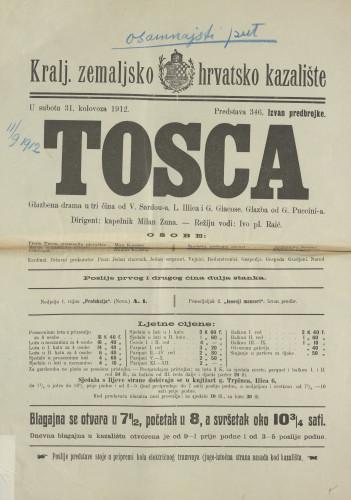 Tosca : Glazbena drama u tri čina / Victorien Sardou