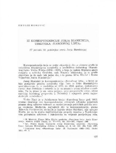Iz korespondencije Jurja Biankinija, urednika