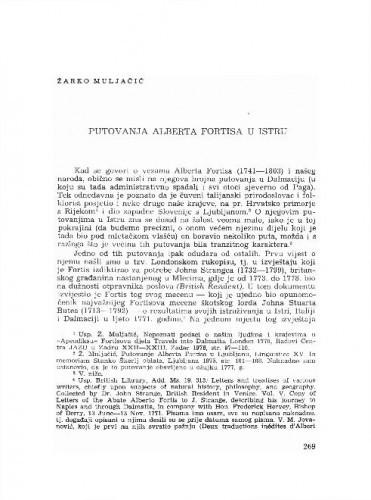 Putovanja Alberta Fortisa u Istru / Žarko Muljačić