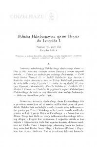 Politika Habsburgovaca spram Hrvata do Leopolda I. / F. Šišić