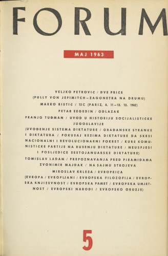 God. 2(1963), knj. 3, br. 5 / glavni i odgovorni urednik Marijan Matković