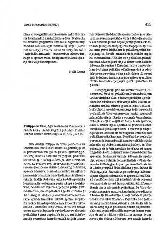 Philippo de Vivo, Information and Communication in Venice: Rethinking early modern politics. Oxford: Oxford University Press, 2007 : [prikaz] / Lovro Kunčević