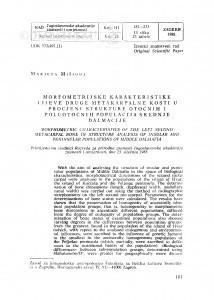 Morfometrijske karakteristike druge lijeve metakarpalne kosti u procjeni strukture otočnih i poluotočnih populacija srednje Dalmacije / M. Mišigoj-Duraković