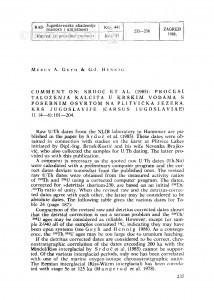 Comment on: Srdoč et al. (1985): Procesi taloženja kalcita u krškim vodama s posebnim osvrtom na Plitvička Jezera. Krš Jugoslavije (Carsus Iugoslaviae) 11 (4-6): 101-204 / Mebus A. Geyh, G. J. Hennig