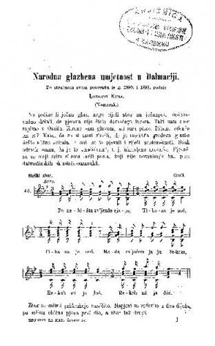 Narodna glazbena umjetnost u Dalmaciji : po stručnom svom putovanju iz g. 1890. i 1892 / L. Kuba