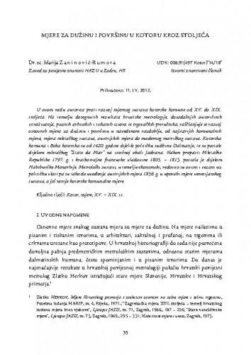 Mjere za dužinu i površinu u Kotoru kroz stoljeća / Marija Zaninović-Rumora