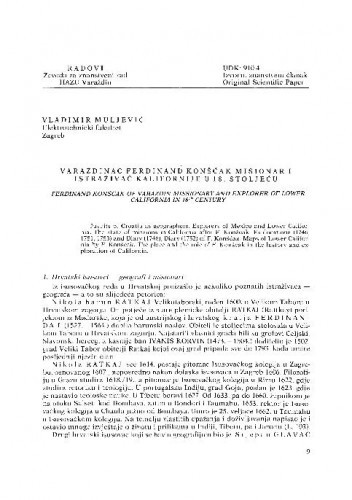 Varaždinac Ferdinand Konšćak misionar i istraživač Kalifornije u 18. st. / Vladimir Muljević