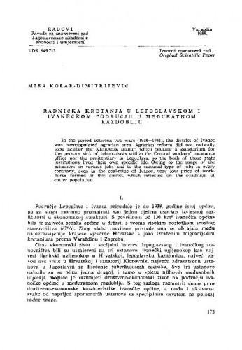 Radnička kretanja u lepoglavskom i ivanečkom području u međuratnom razdoblju / Mira Kolar-Dimitrijević