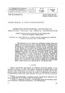 Gornjopleistocenska avifauna iz Smolućke pećine (JZ Srbija, Jugoslavija) / Vesna Malez, Vesna Dimitrijević